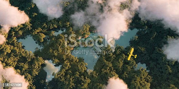 istock Sustainable habitat world concept. Distant aerial view of a dense rainforest vegetation with lakes in a shape of world continents, clouds and one small yellow airplane. 3d rendering. 1182427496