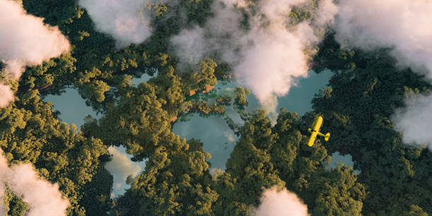 Sustainable habitat world concept. Distant aerial view of a dense rainforest vegetation with lakes in a shape of world continents, clouds and one small yellow airplane. 3d rendering. Sustainable habitat world concept. Distant aerial view of a dense rainforest vegetation with lakes in a shape of world continents, clouds and one small yellow airplane. 3d rendering. symbiotic relationship stock pictures, royalty-free photos & images
