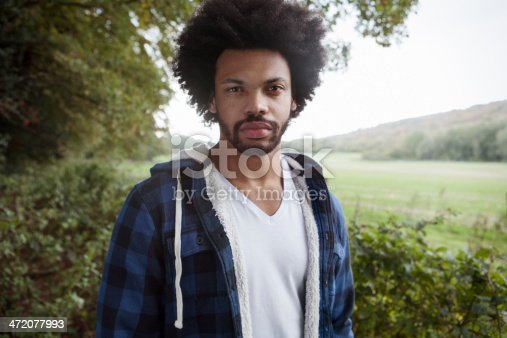 Portrait of young confident man in nature.