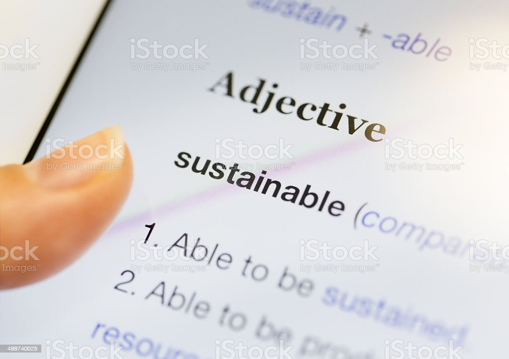 Sustainable Online Dictionary Definition Displayed On Digital Tablet