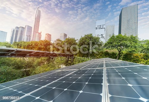Solar Power Plant in modern city