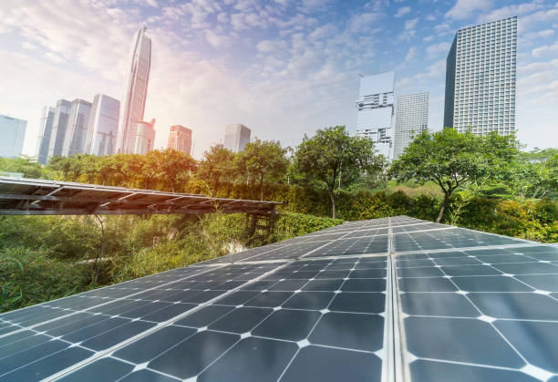 Sustainable Renewable Energy,Solar panel Solar Power Plant in modern city sustainable energy stock pictures, royalty-free photos & images