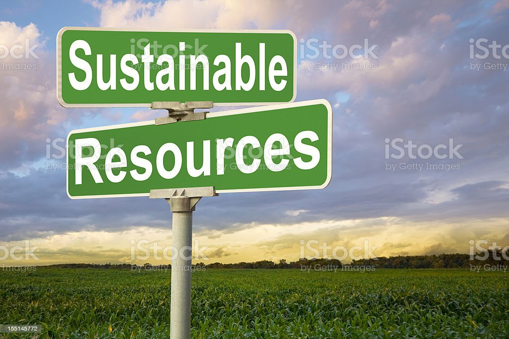 Sustainable Resources Road Sign by Corn Field royalty-free stock photo
