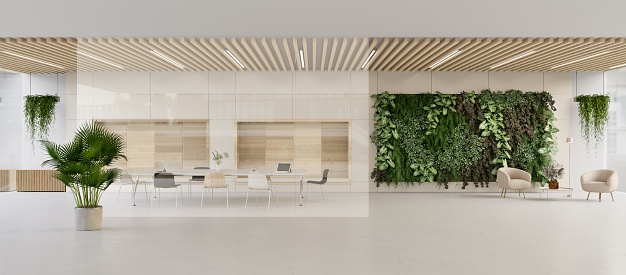 Panoramic 3D render of a green modern lobby