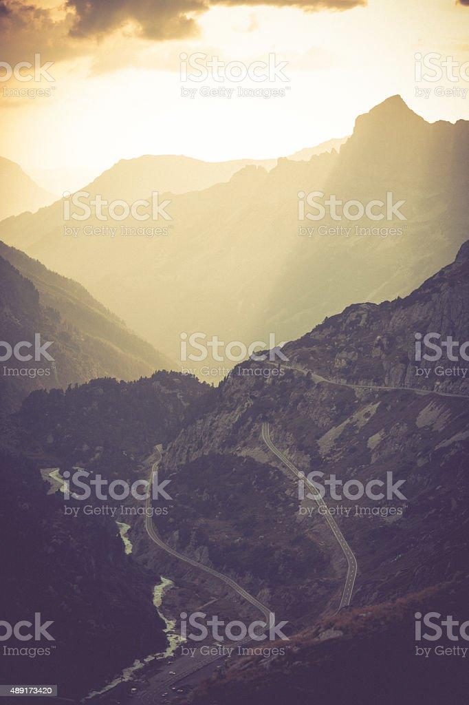 Susten Pass Switzerland Alpes at sunset 2 stock photo