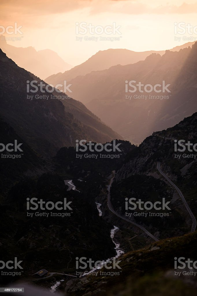 Susten Pass Switzerland Alpes at sunset 3 stock photo