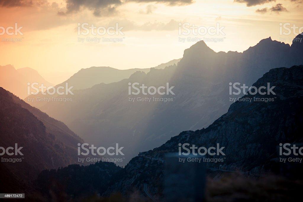 Susten Pass Switzerland Alpes at sunset 4 stock photo