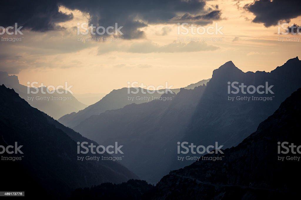 Susten Pass Switzerland Alpes at sunset stock photo