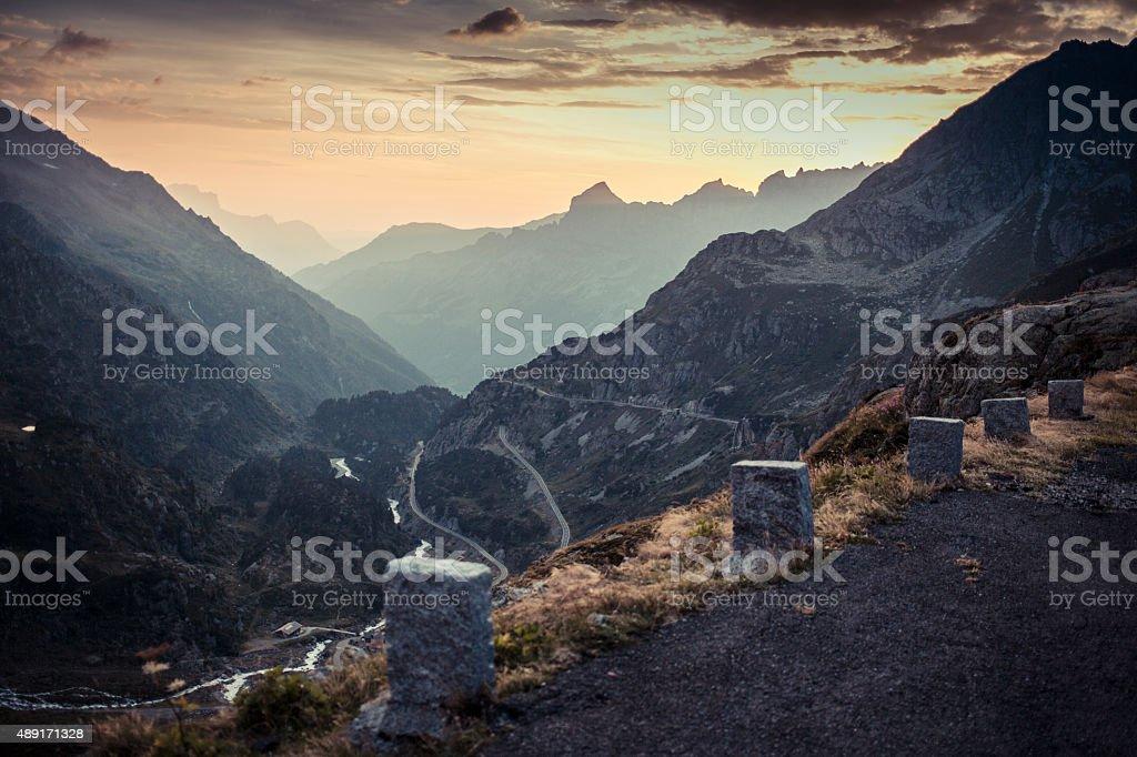 Susten Pass Switzerland Alpes with boundary stone 2 stock photo
