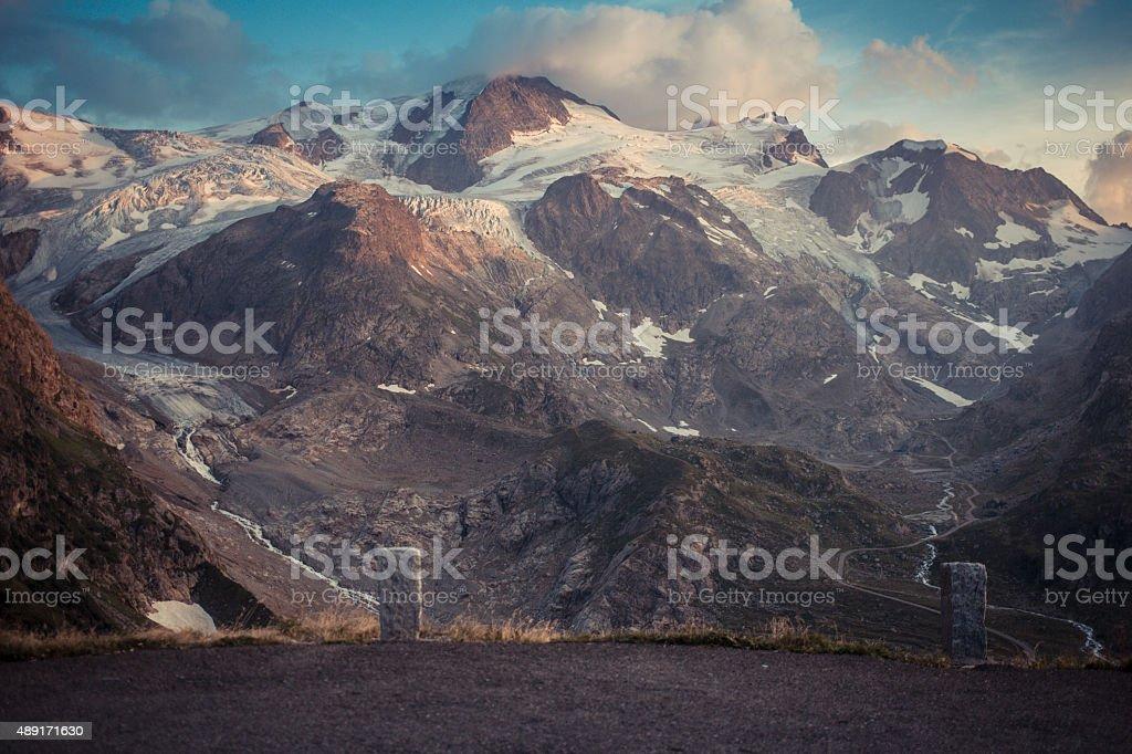 Susten Pass Switzerland Alpes with boundary stone stock photo