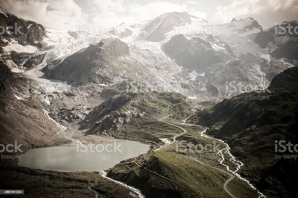 Susten Pass Switzerland Alpes with lake stock photo