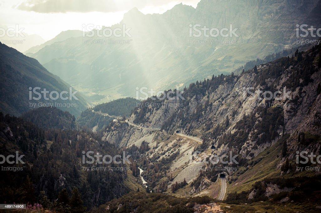 Susten Pass Switzerland Alpes with sunlight 2 stock photo