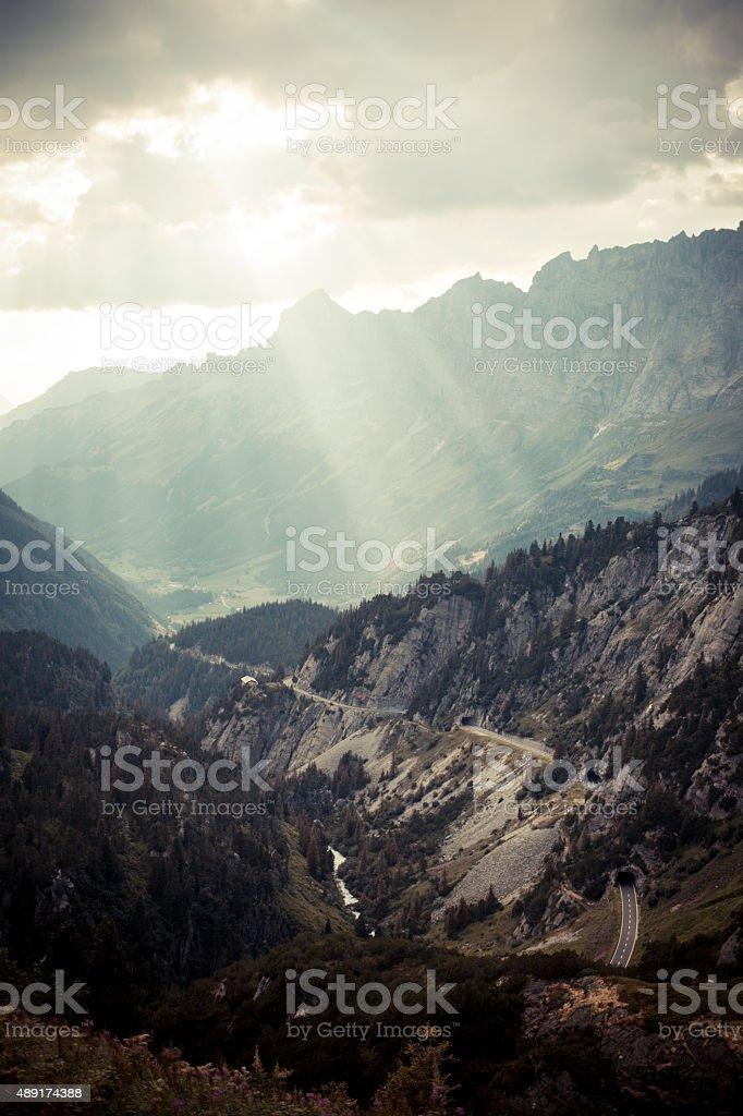 Susten Pass Switzerland Alpes with sunlight 3 stock photo