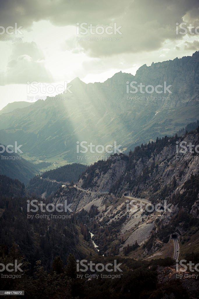 Susten Pass Switzerland Alpes with sunlight stock photo