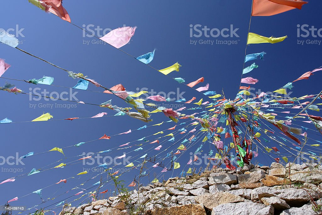Sutra streamers and Mani stone royalty-free stock photo