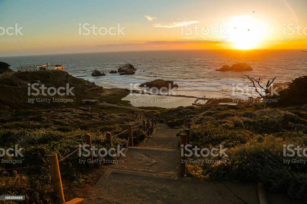 Sutro Baths at Sunset in San Francisco, California royalty-free stock photo