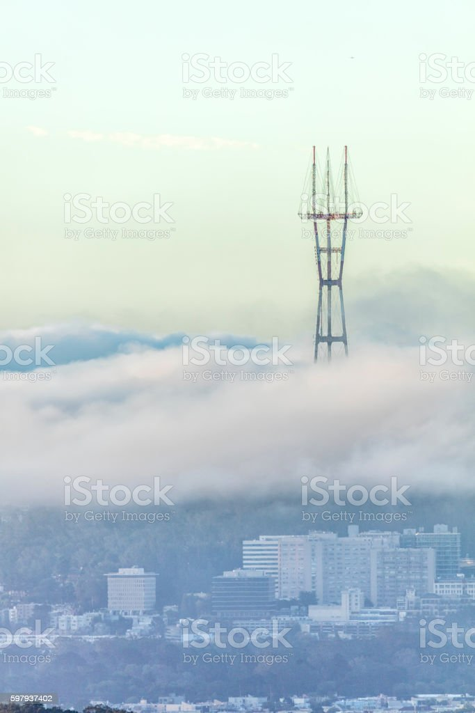Sutro Tower and UCSF On the West of San Francisco stock photo
