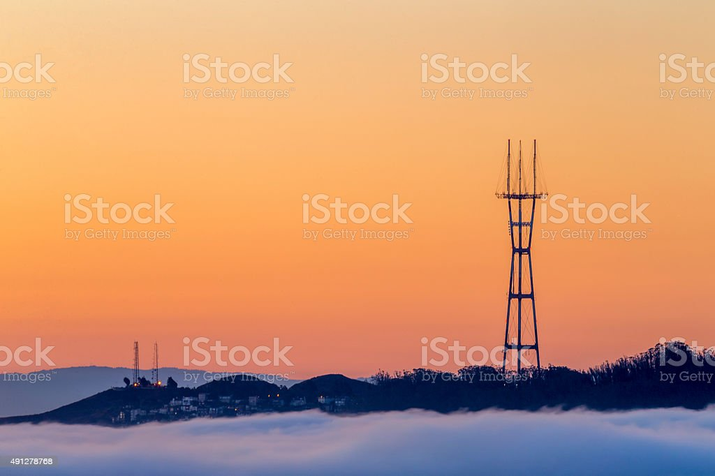 Sutro Tower of San Francisco at Sunrise stock photo