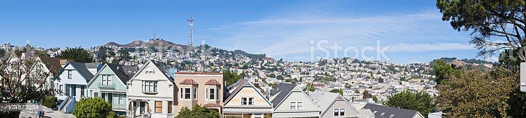 Sutro Tower suburbs panorama Twin Peaks Castro San Francisco California stock photo