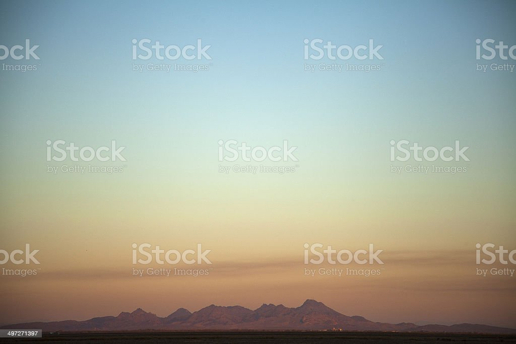 Sutter Buttes at sunset stock photo