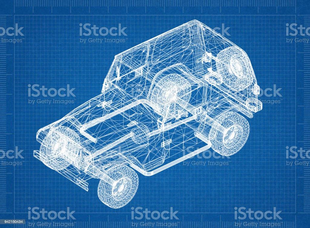 Suv 3D blueprint stock photo
