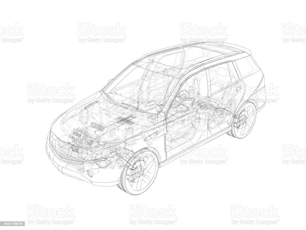 SUV-Auto-cutaway – Foto