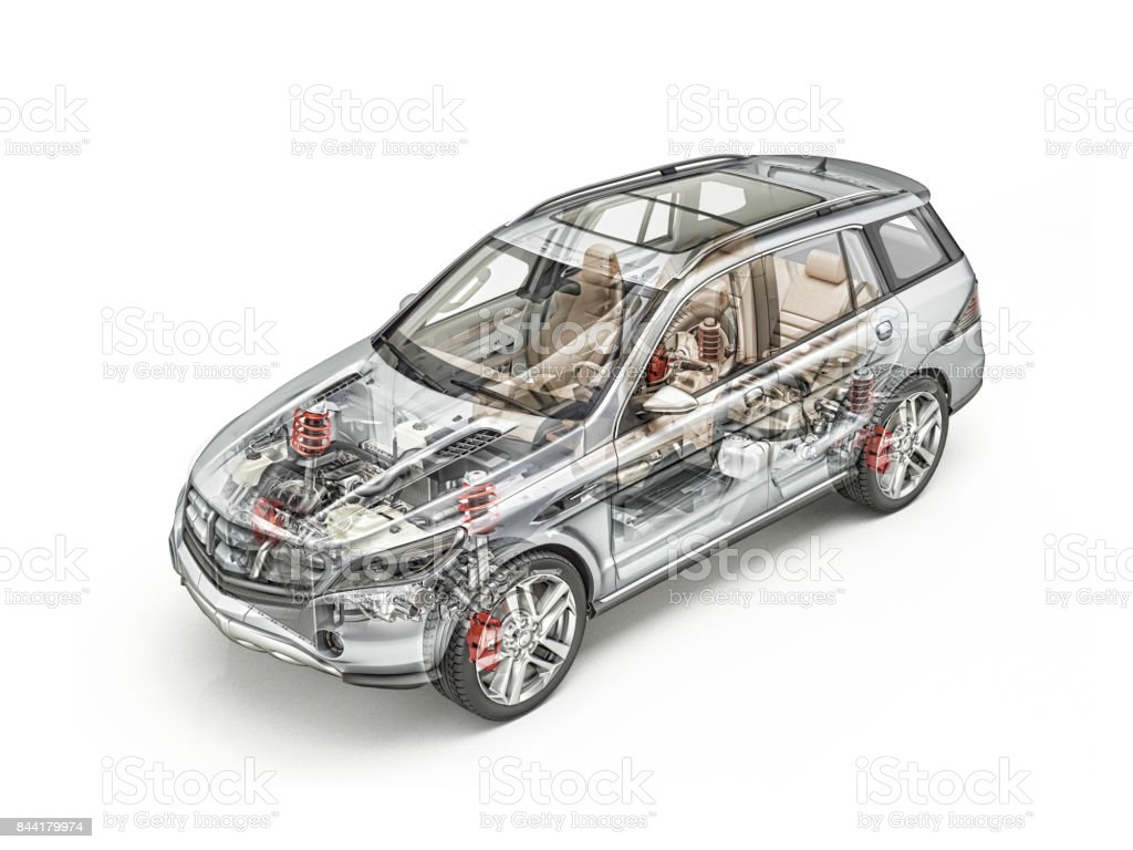 Suv car cutaway stock photo