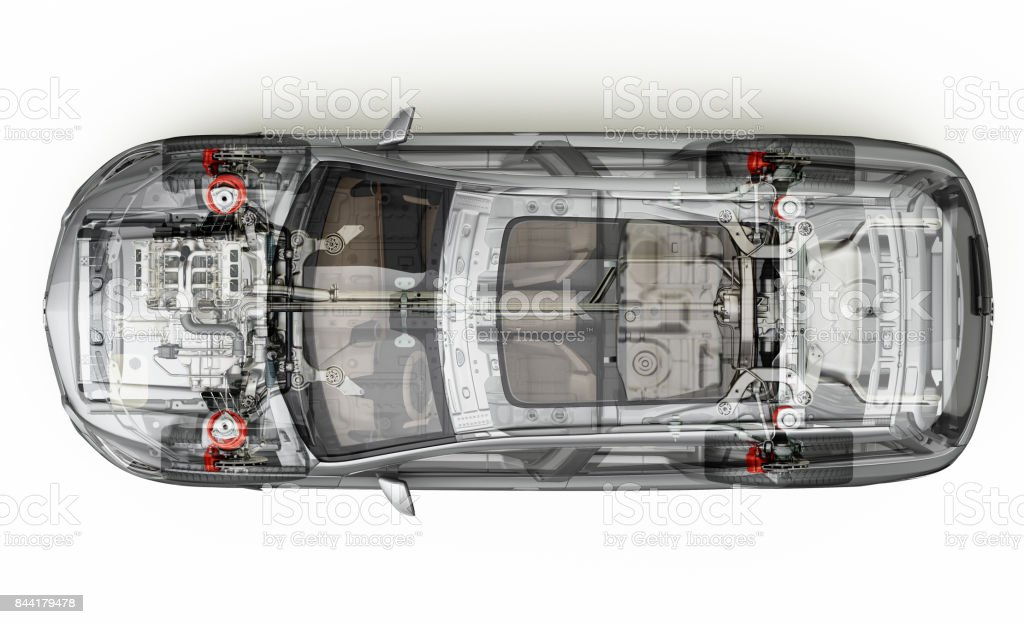 Suv car cutaway top view. stock photo