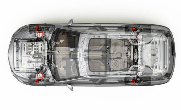 Suv car cutaway top view. Suv detailed cutaway representation, view from top. With ghost effect. On white background, clipping path included. vehicle part stock pictures, royalty-free photos & images