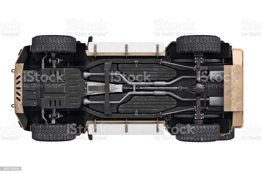 Suv car suspension 4wd, bottom view stock photo