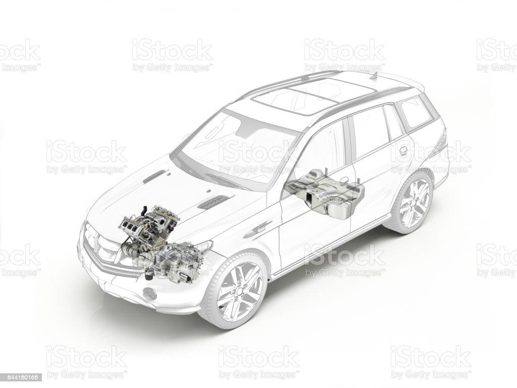 SUV-Cutaway Zeichnung zeigt Motor und tank – Foto