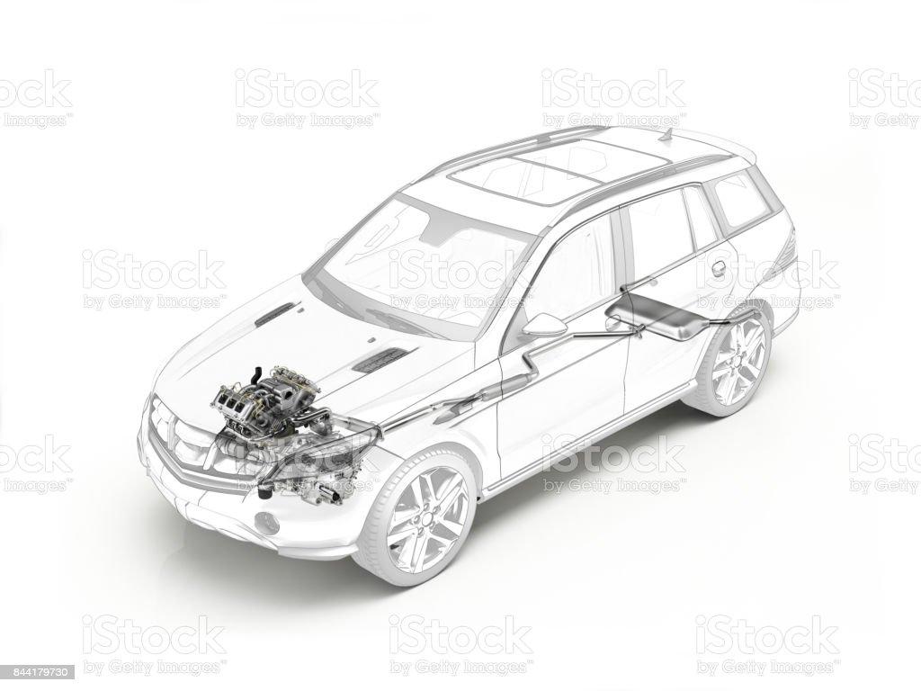 SUV-Cutaway Zeichnung zeigt realistische Motor und Auspuff-system – Foto