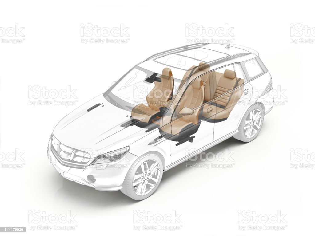 Suv technical drawing showing realistic seats stock photo