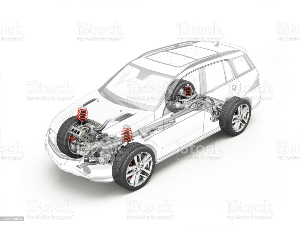 Suv technical drawing showing realistic undercarriage details stock photo