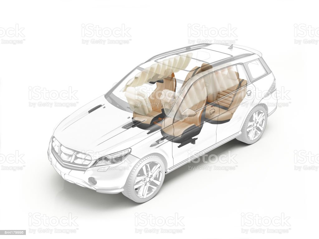 Suv technical drawing showing seats and airbags stock photo