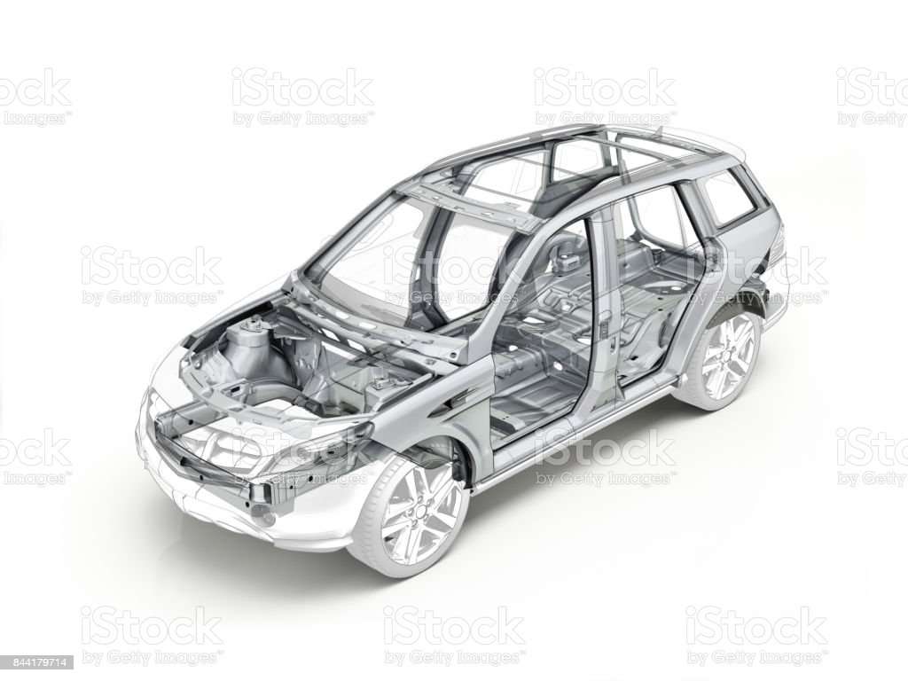 Suv technical drawing showing the car chassis stock photo