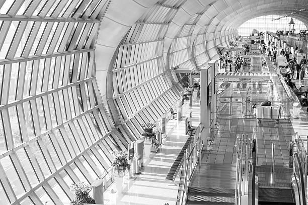 Suvarnabhumi Airport, Bangkok Gates at Suvarnabhumi Airport apostrophe stock pictures, royalty-free photos & images