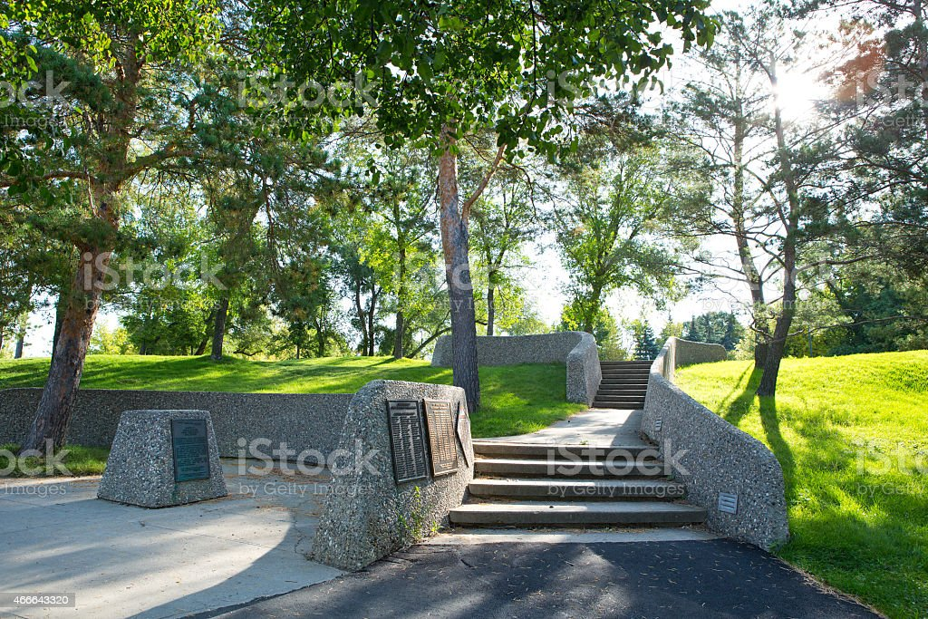 Suveyors Monument in Regina Saskatchewan stock photo