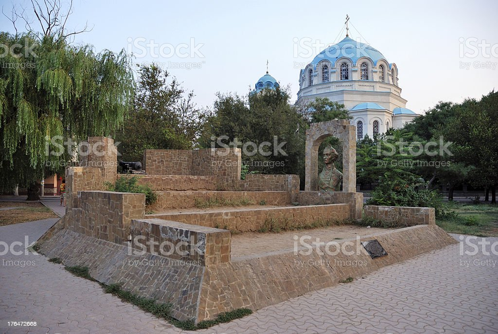 Suvorov redoubt against the St. Nicholas Cathedral in Yevpatoriya. royalty-free stock photo