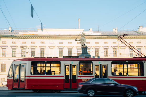 A.V. Suvorov statue and old tram in Saint Petersburg, Russia stock photo