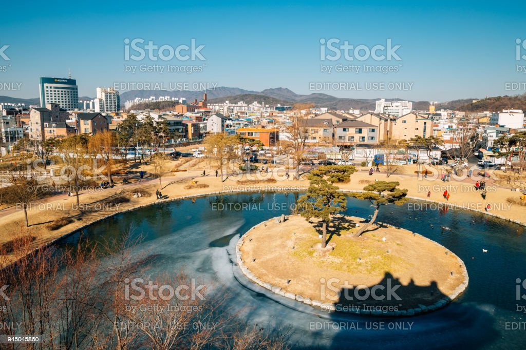 Suwon cityspace and frozen pond at winter in Korea stock photo