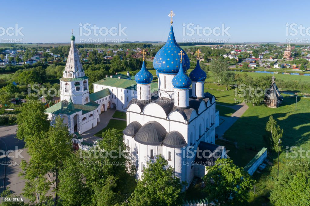 Suzdal, Russia. Aerial view of the architectural complex of the Suzdal Kremlin included in the UNESCO World Heritage List. stock photo