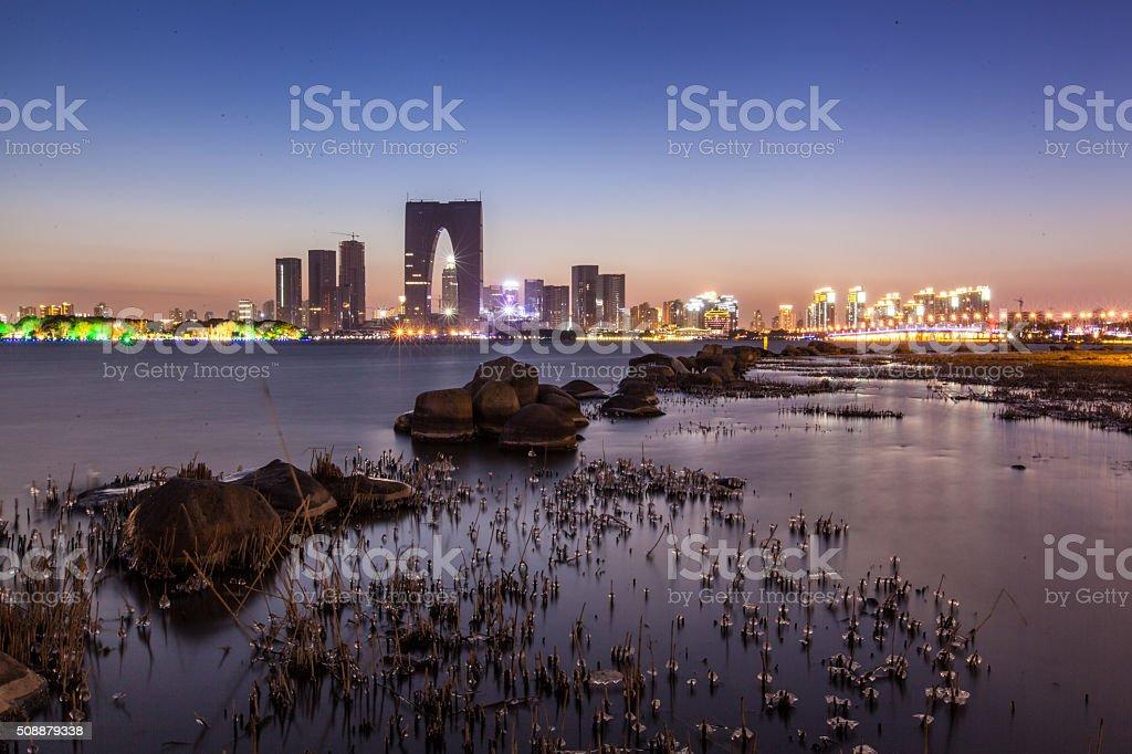 Suzhou city night , night scenery on Jinji Lake stock photo