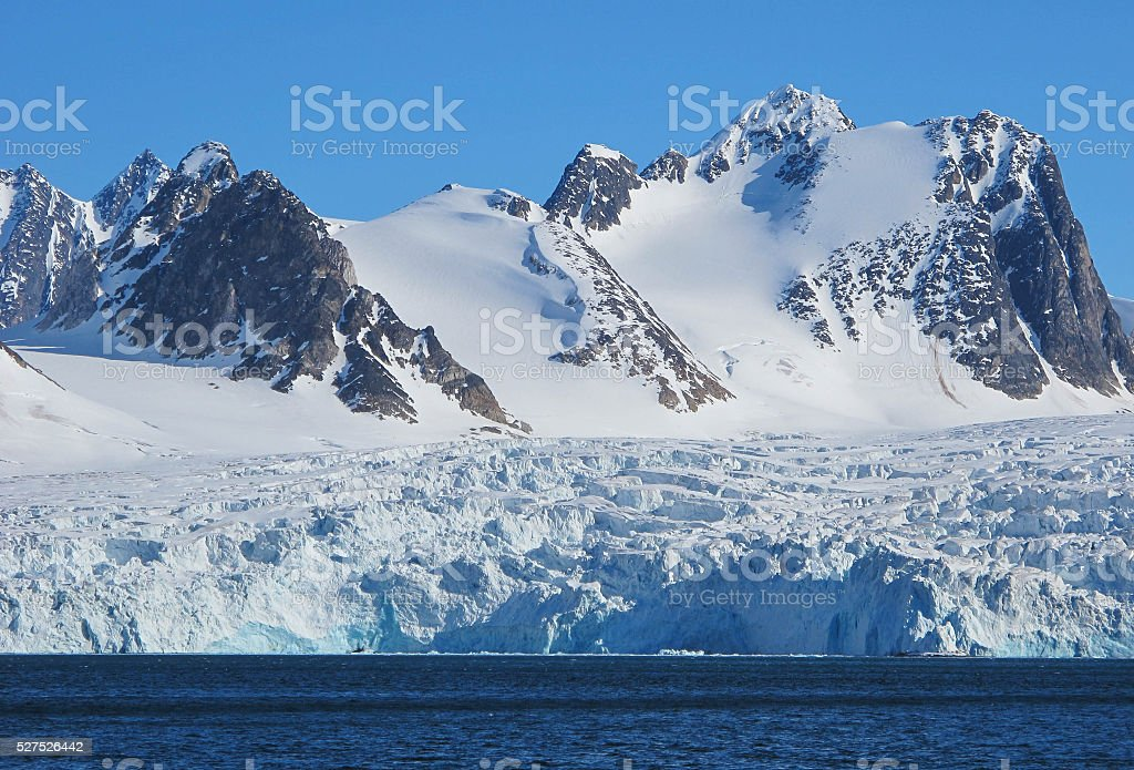 Svalbard glacier stock photo