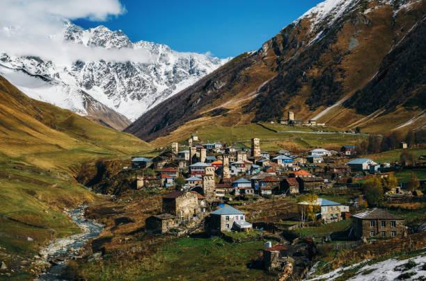 Svanetian Towers in Ushguli, Upper Svanetia, Georgia stock photo