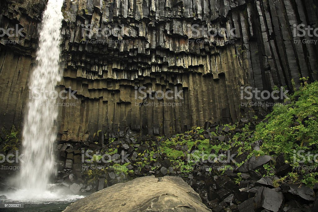 Svartifoss waterfall and basalt columns royalty-free stock photo