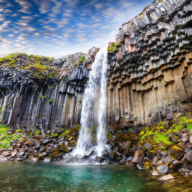 Svartifoss waterfall stock photo