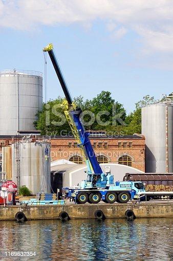 Karlshamn, Blekinge, Sweden - July 26, 2019: Swedish Sven Jinert mobile crane.