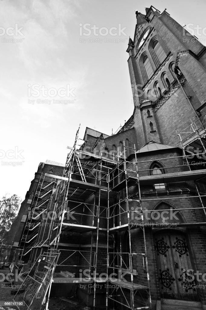Svenska Kyrkan (Swedish Church) Cathedrar under renovation stock photo