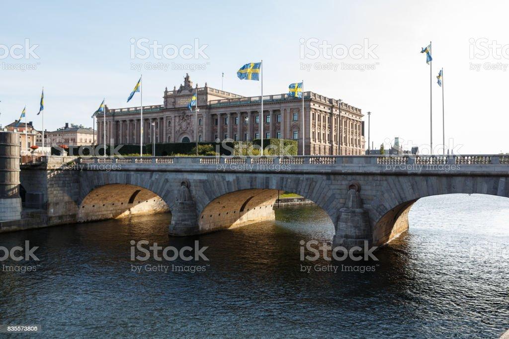Sveriges Riksdag - Parliament House in Stockholm, Gamla Stan, Sweden stock photo